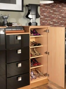 Contemporary black gloss unit with shelving for effective shoe storage