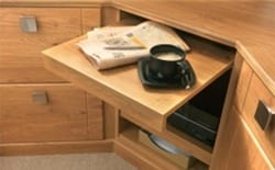 Fitted oak office pull out surface for additional space