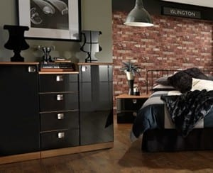 Contemporay black gloss drawer unit with industrial decor back-drop