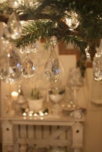Close-up of a Christmas tree with tear-drop glass baubles