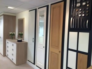 showroom shot of door styles, finishes and handle options