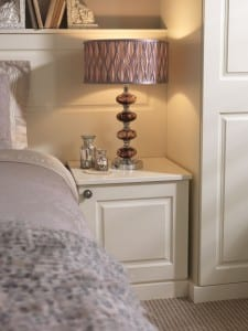 Chelsea range in an alabaster finish; fitted bedside cabinet