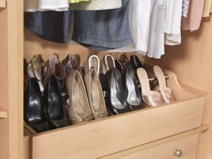 Fitted shoe-racks and interior drawers mean clutter is less likely to build up
