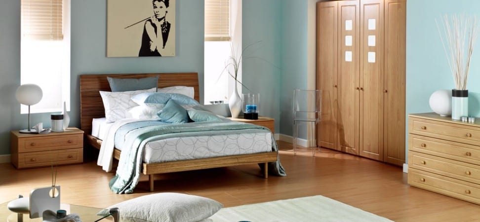 Madrid freestanding range in a beech finish with frosted glass squares on the wardrobe doors