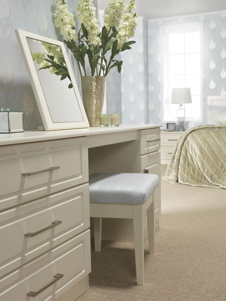 Madrid Range In A Jasmine Finish; Fitted Dressing Table And Freestanding  Mirror