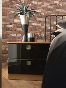 Milan range in a black gloss and aida walnut finish; freestanding bedside cabinet
