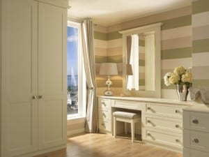 Shaker range in a chalk white finish; fitted dressing table