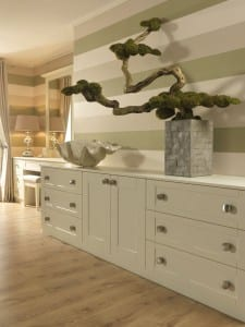 Shaker range in a chalk white finish; fitted low unit