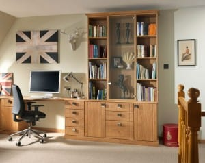 Sorrento range in a pipi oak finish; fitted desk and bookshelf