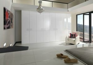 white gloss fitted wardrobes