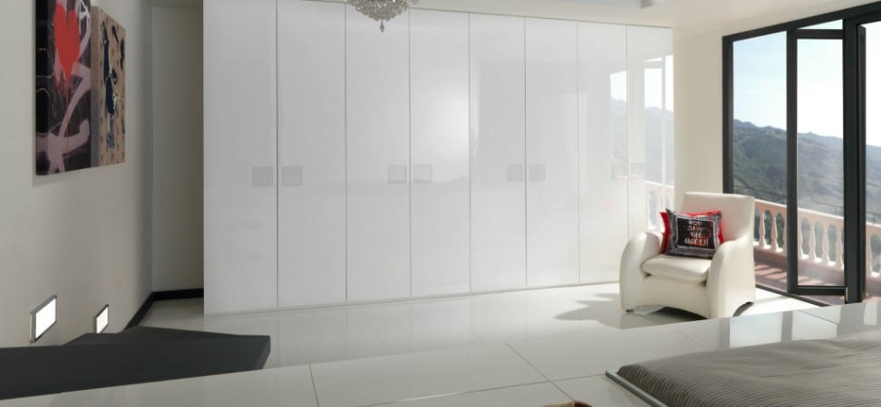 white gloss fitted wardrobe run