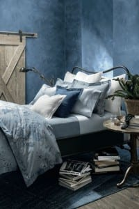 mulitiple shades of blue bedroom