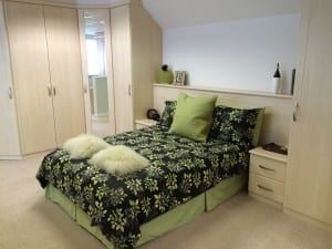 Fitted furniture against a sloping wall