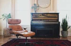 vintage piano and chair