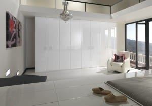 White gloss wardrobes