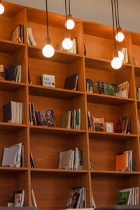 Industrial style lighting & classic locker shelving
