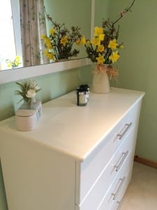 Drawer unit in ivory ash with daffodil vase