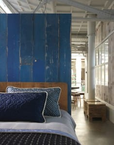 Blue wooden room divider