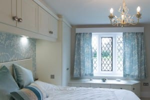 Blue and white floral fitted bedroom