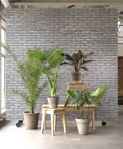 Grey brick room divider