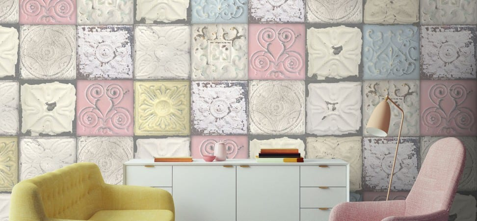LL pastel tin tile wallpaper