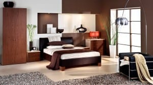 Milan walnut freestanding bedroom