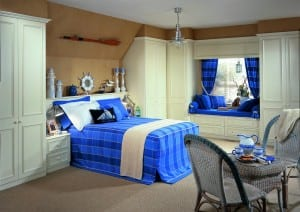 blue check fitted bedroom