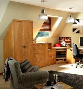 Oak office with built-in storage solutions