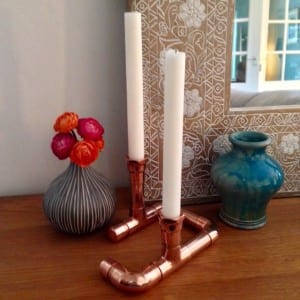 Copper and Blonde candle holder