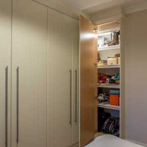Fitted wardrobe interior with built in shelves