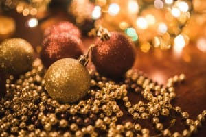 Christmas gold baubles