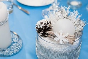 Snowflake inspired centrepieces