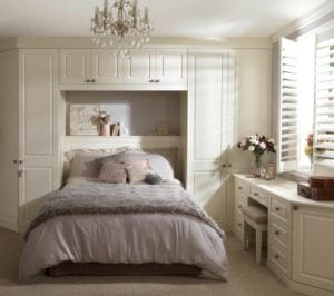 Soothing colour scheme in this fitted bedroom