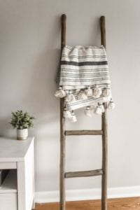 Scandi style ladder with blanket