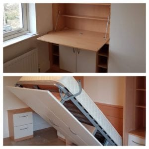 Space saving furniture, fold away beds