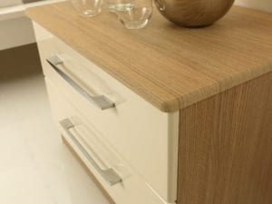 Cream gloss and wood grain bedside table