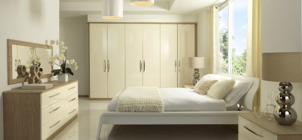 Milan two tone gloss / woodgrain fitted bedroom