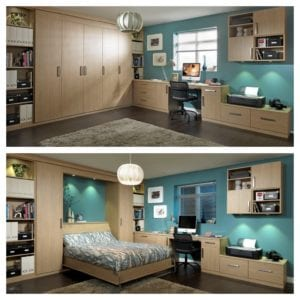 Flexible spare bedroom/office layout with foldaway bed