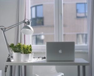 Contemporary office desk and plants