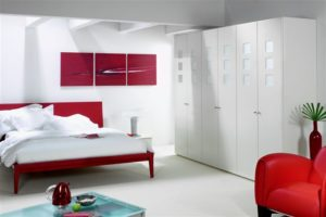 Contemporary white freestanding bedroom