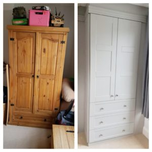 freestanding and fitted wardrobes side by side