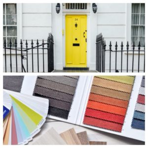 Colourful house front door and colour swatches
