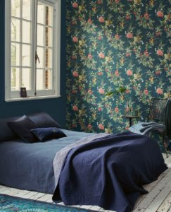 Lime Lace navy bed with floral wallpaper backdrop