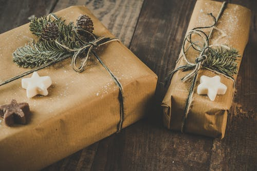 brown paper gift wrapped presents