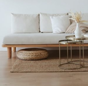 Japandi style sofa and table